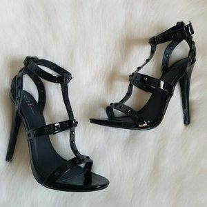 Shi Valley Black Studded Strappy Heels Sz 9
